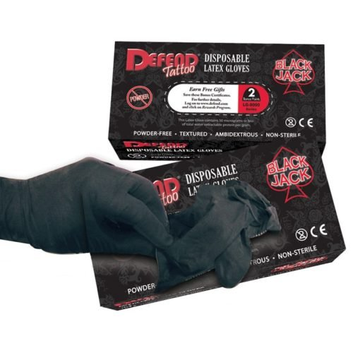 blackjack latex tattoo gloves